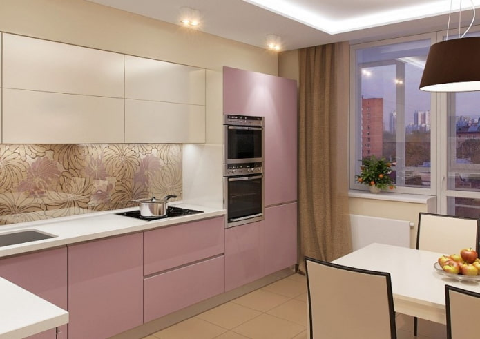 intérieur de cuisine aux couleurs beige et rose