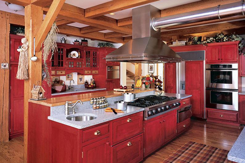 Cuisine de style campagnard rouge et noir - Design d'intérieur