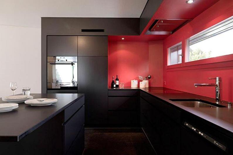 Cuisine minimaliste rouge et noir - Design d'intérieur