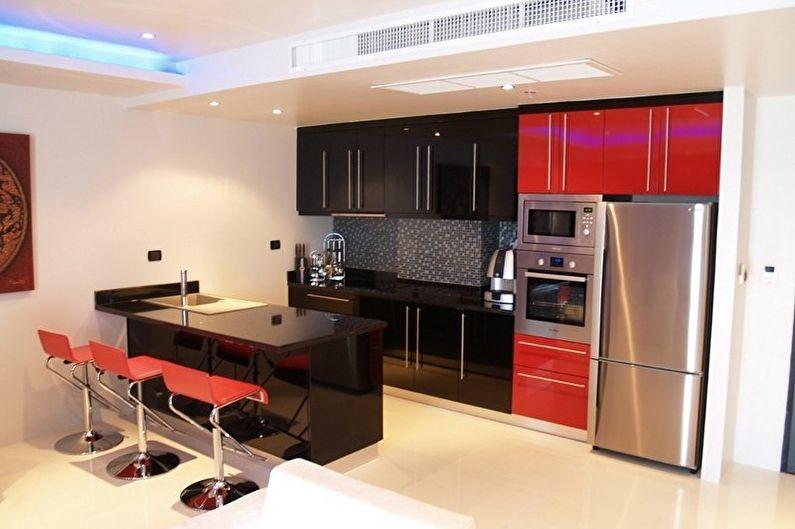 Cuisine high-tech rouge et noir - Design d'intérieur