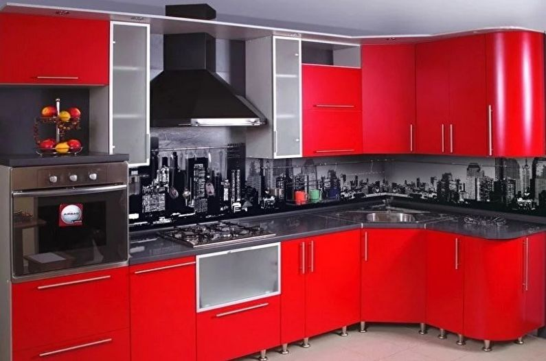 Cuisine Art Nouveau Rouge et Noir - Décoration d'intérieur