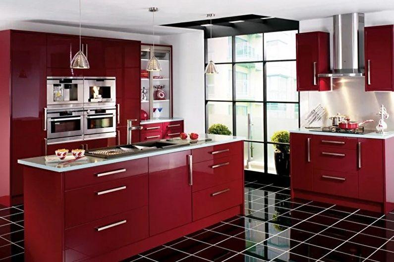 Design de cuisine rouge et noir - Fini au sol