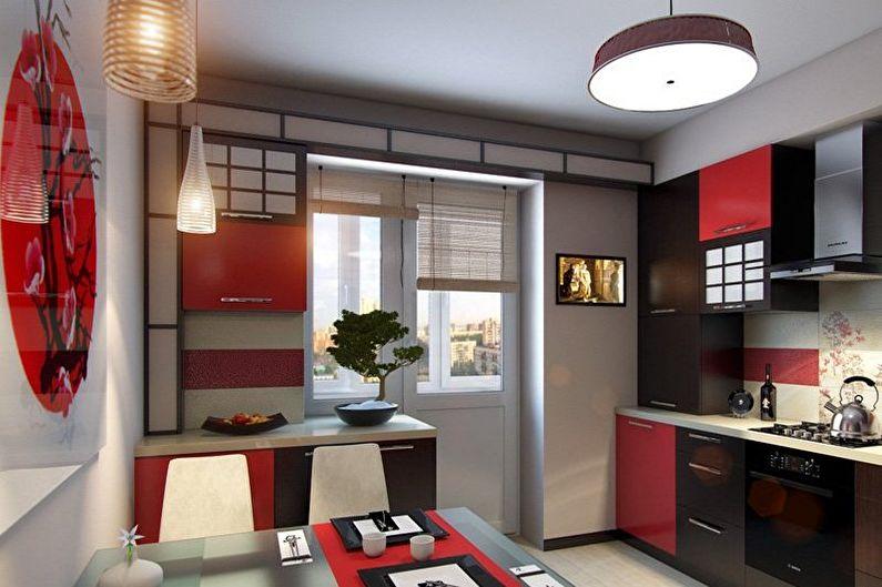 Cuisine minimaliste japonaise rouge et noire - Design d'intérieur