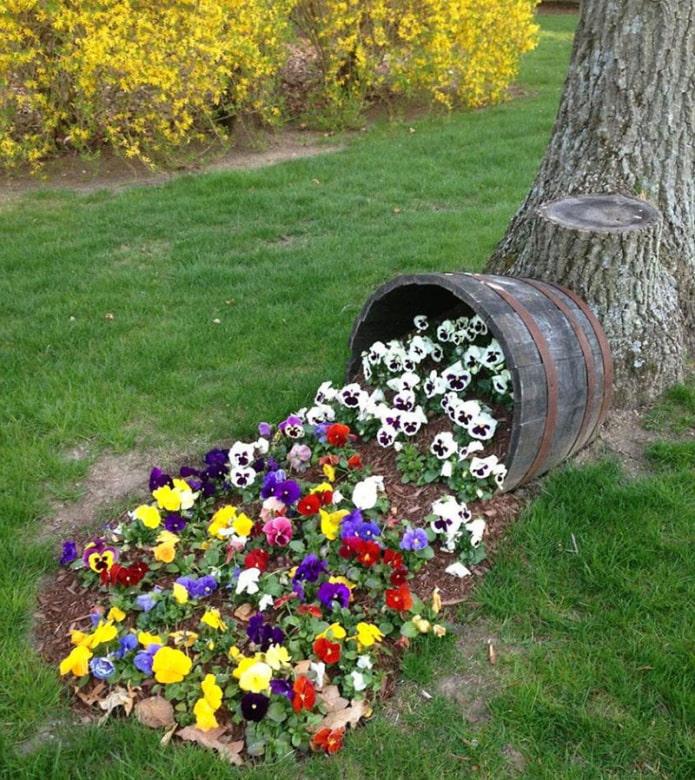 Parterre de fleurs d'un tonneau