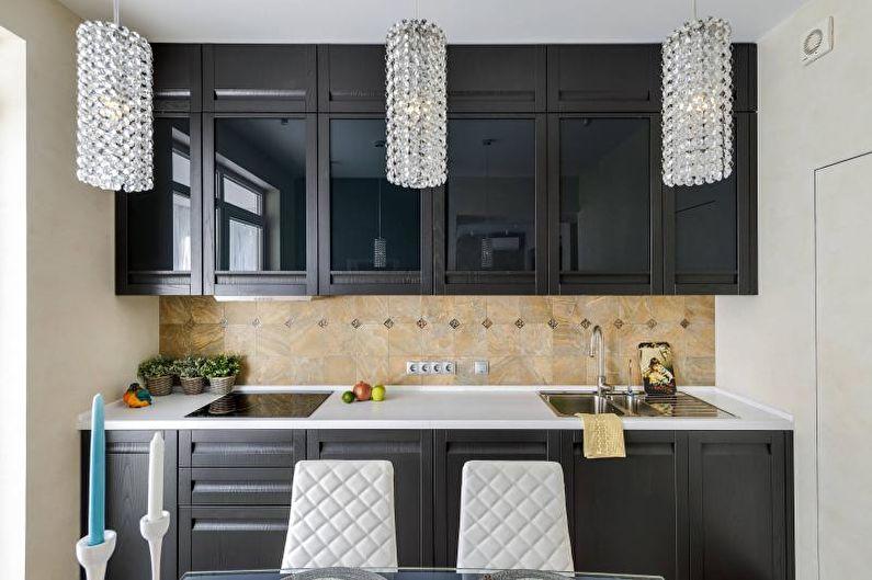 Cuisine noire et blanche dans un style classique - Design d'intérieur
