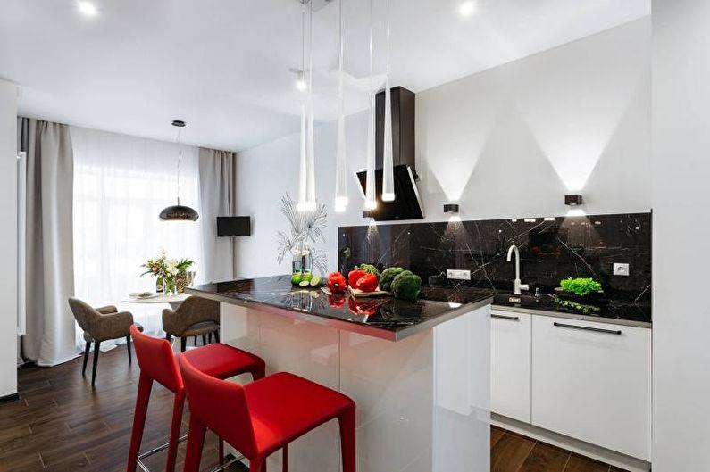 Conception de cuisine en noir et blanc - Combinaisons de couleurs