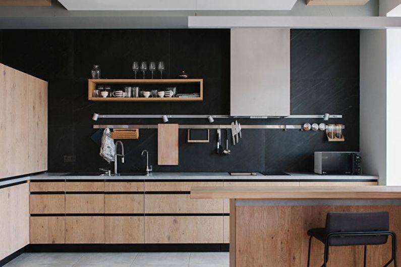 Cuisine de style scandinave noir et blanc - Design d'intérieur