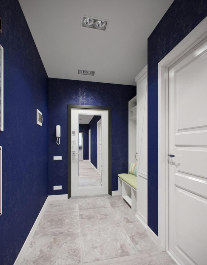 couloir blanc et bleu