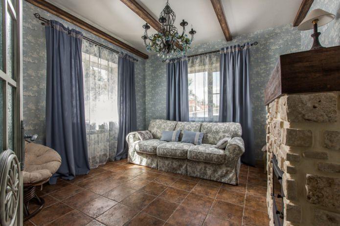 rideaux de campagne en lin bleu