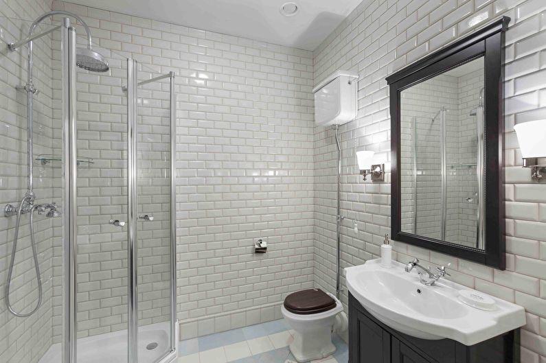 Salle de bain blanche de style classique - Design d'intérieur