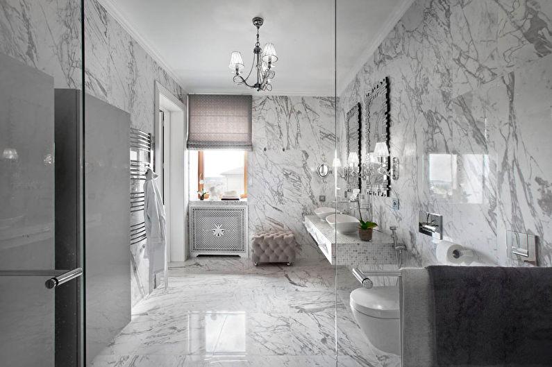 Salle de bain grise dans un style classique - Design d'intérieur