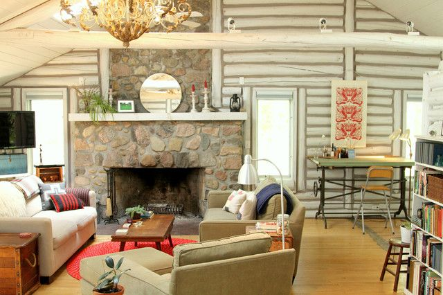 Intérieur de maison en bois de style éclectique