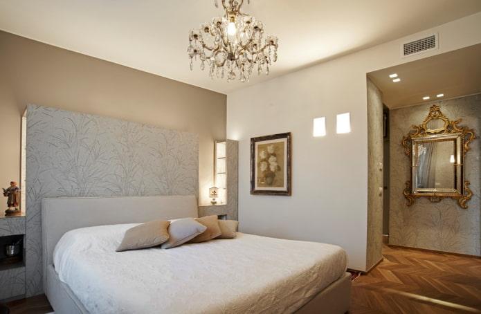 décoration et éclairage à l'intérieur de la chambre beige