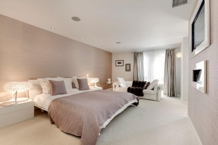 intérieur de chambre blanc et beige