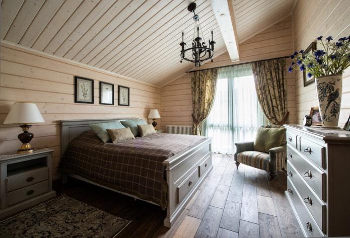 finition de la chambre dans un style campagnard
