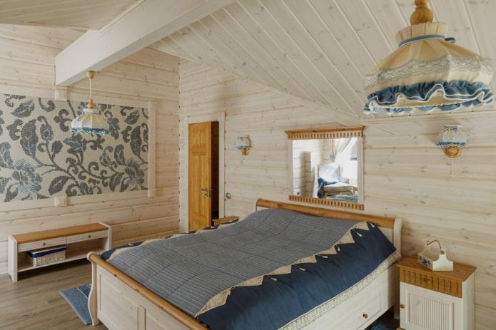 schéma de couleurs de la chambre dans un style campagnard rustique