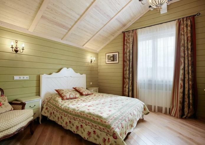 textiles et décoration dans la chambre dans un style campagnard