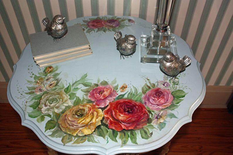 Peinture artistique - DIY déco de table ancienne