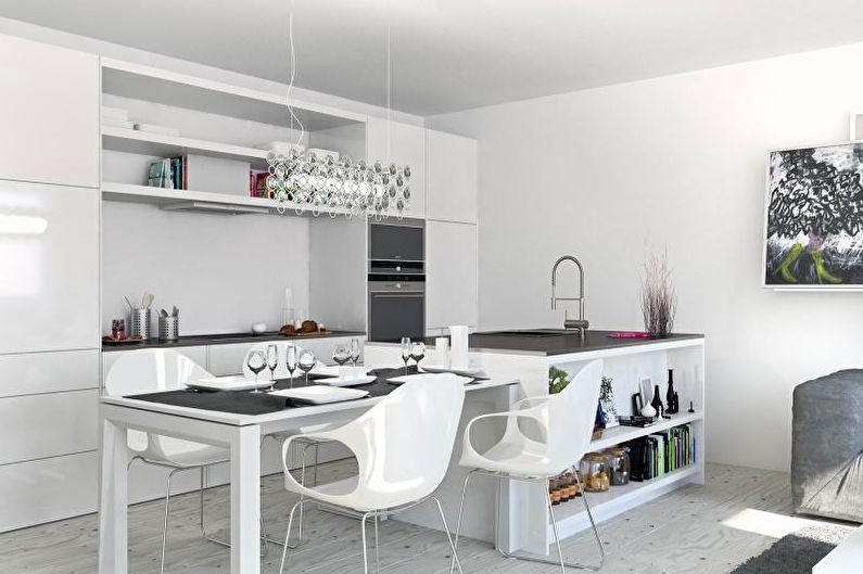 Cuisine blanche 14 m²  - Design d'intérieur