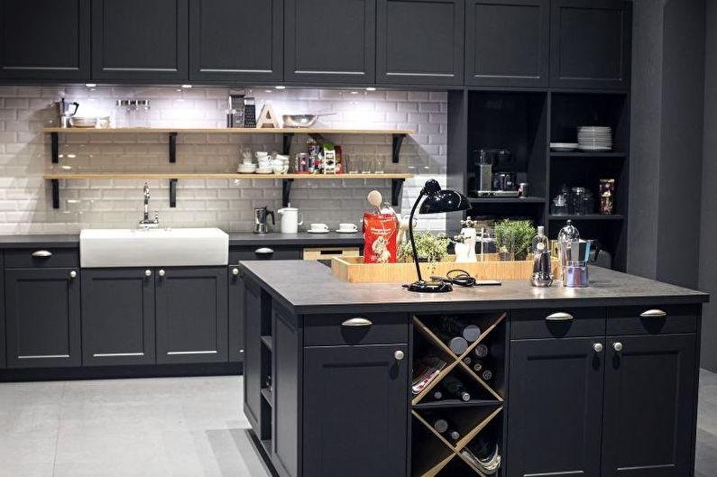 Cuisine grise 14 m²  - Design d'intérieur