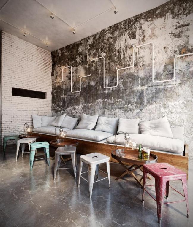 Le style est possible dans une pièce spacieuse avec de hauts plafonds
