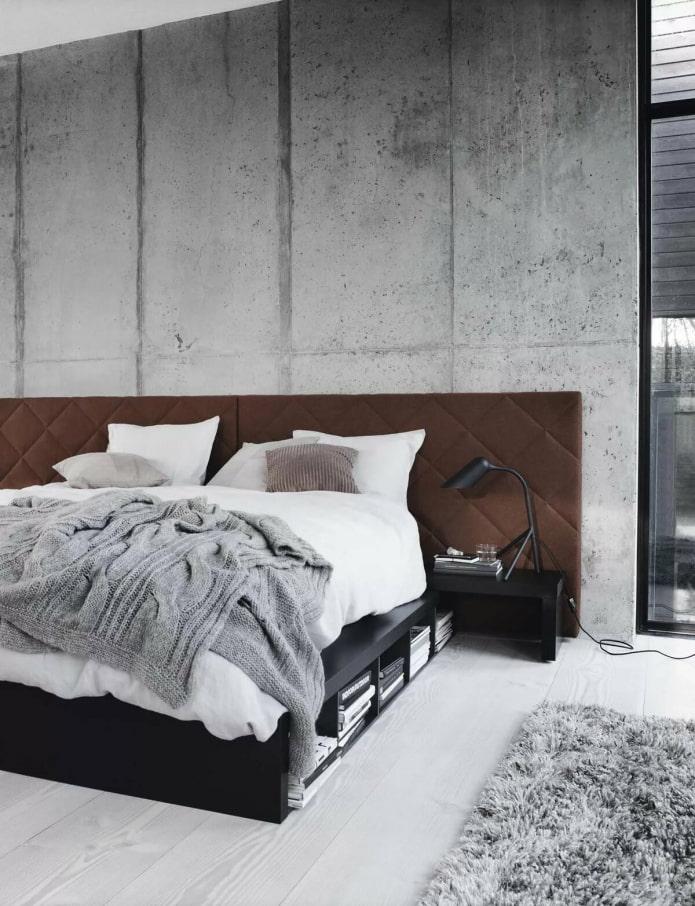murs en béton dans la chambre