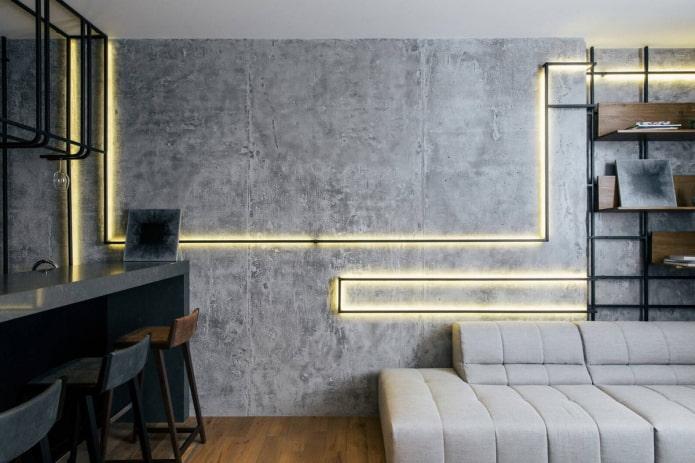 murs en béton dans le salon