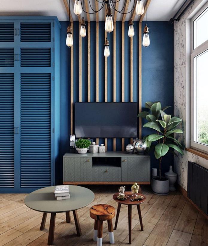 murs bleus dans le salon