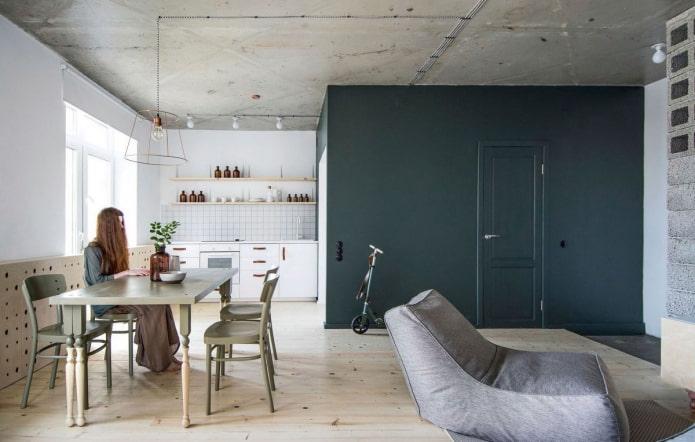 murs verts dans le studio