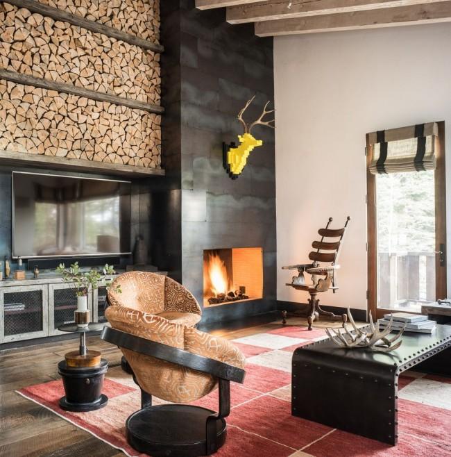 Tas de bois comme décor d'un salon d'une maison privée