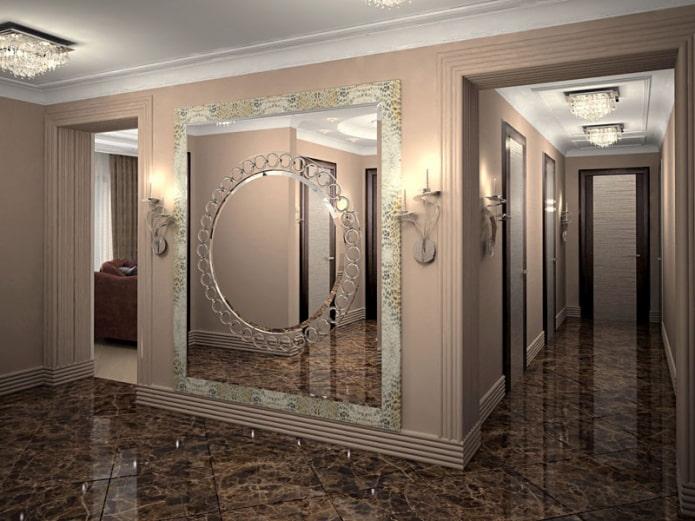 miroir biseauté avec des motifs à l'intérieur