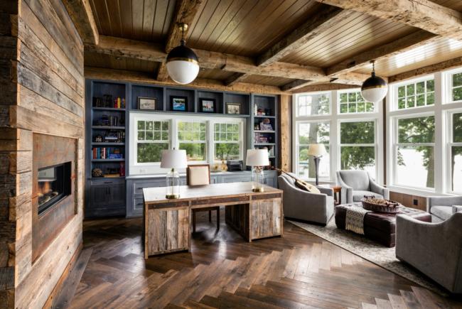 Zonage avec parquet et palette de couleurs des meubles