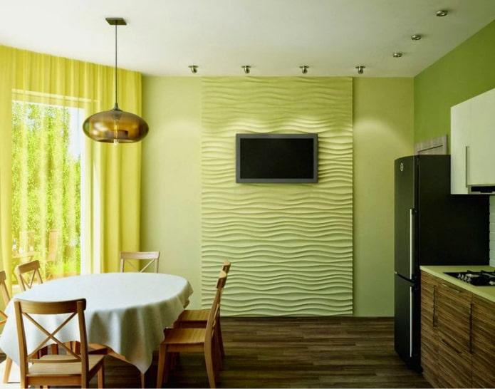 murs verts à l'intérieur de la cuisine