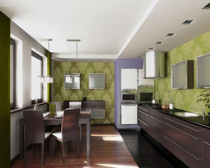 murs de couleur olive dans la cuisine