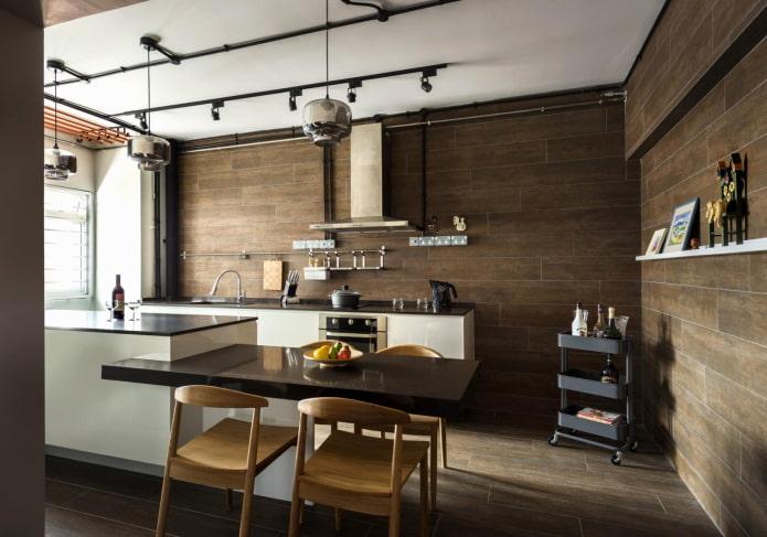 murs bruns à l'intérieur de la cuisine
