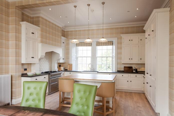 murs beiges à l'intérieur de la cuisine