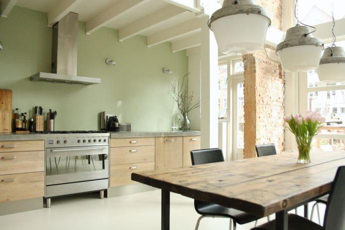 cuisine écologique avec murs en olivier et cloison en briques