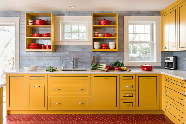 Les couleurs intenses feront de la cuisine le point culminant de la maison.