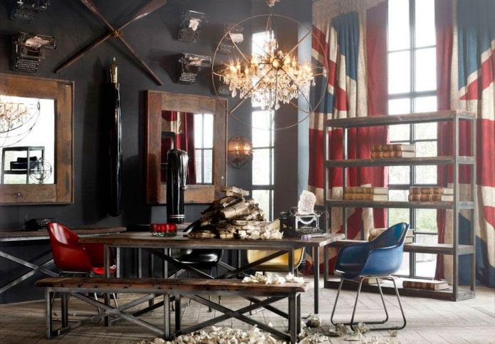 rideaux photo à l'intérieur dans le style loft
