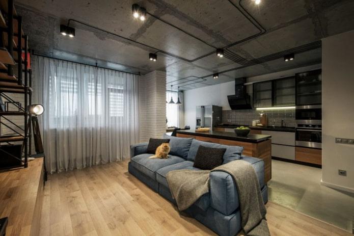 rideaux dans le salon dans le style loft