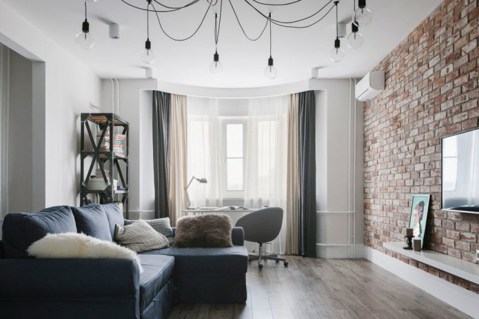 rideaux doubles dans le salon de style loft