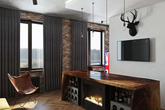 rideaux occultants dans un intérieur de style loft