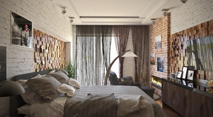 mousseline dans la chambre dans le style loft