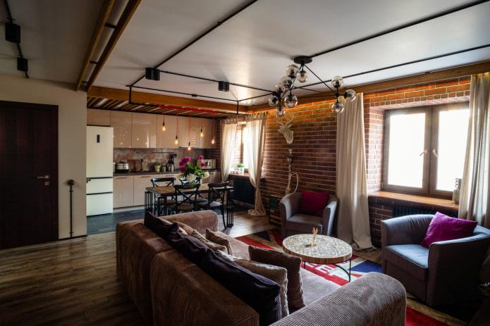 rideaux en coton pour salon style loft
