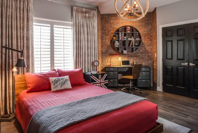 rideaux sur anneaux dans la chambre de style loft