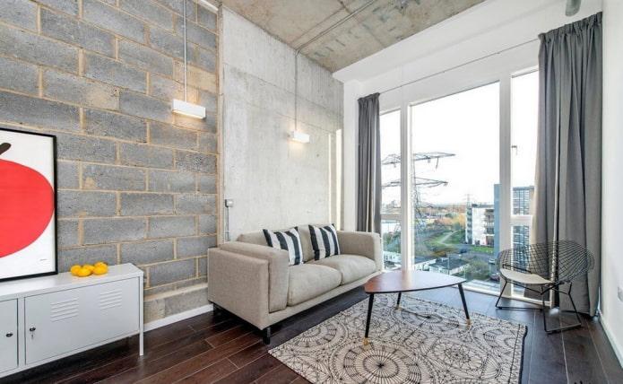 rideaux sur une tresse dans un salon dans un style loft