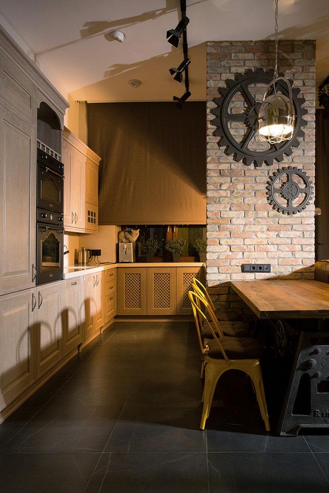 volets roulants dans la cuisine de style loft