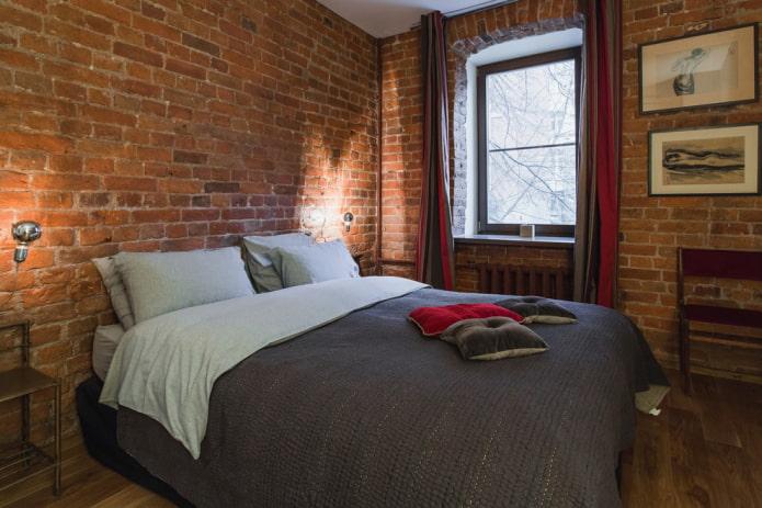 rideaux dans la chambre dans le style loft