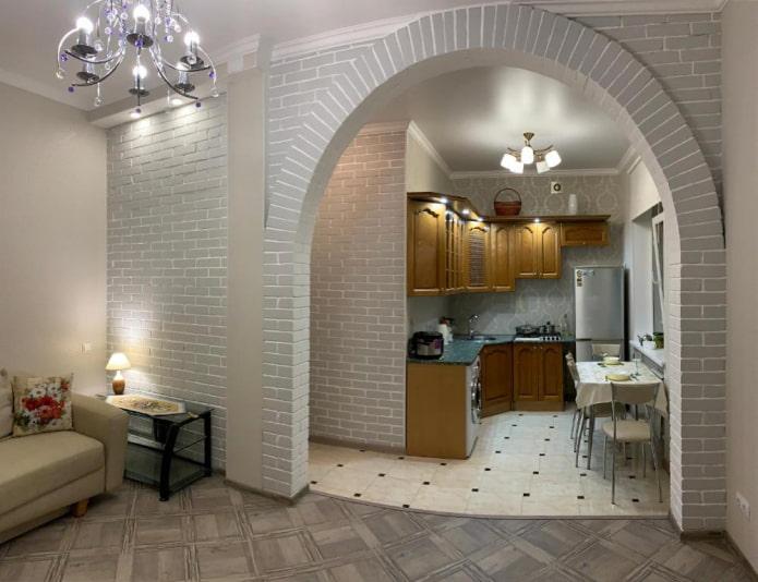 arche ovale à l'intérieur de la cuisine