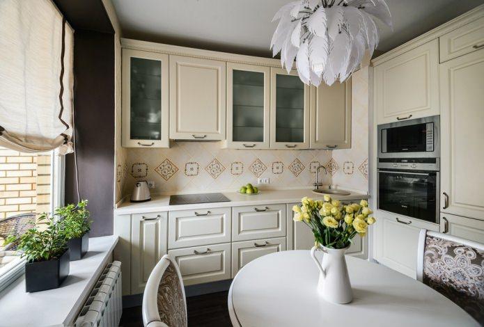 petite cuisine avec ensemble beige